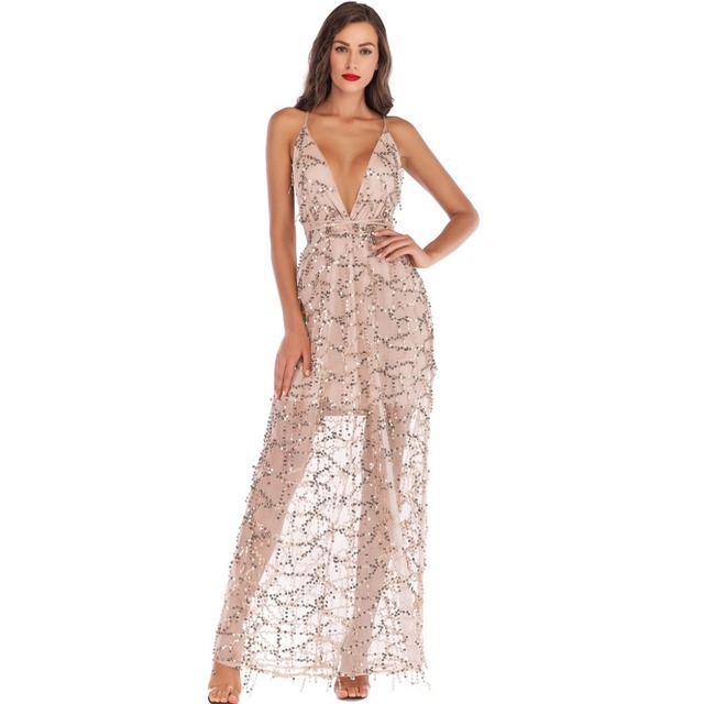 Sexy Women deep V Neck Maxi Sequin Halter Backless Split Cocktail Prom Gown  Dress Lady Sling Sexy Dew back Su Liang long dress e915eaff7616
