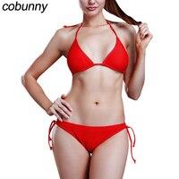 Cobunny Women Push Up Swimwear 2017 Strappy Halter Brazilian Bikini Set Low Waist Bathing Suit Swimsuit