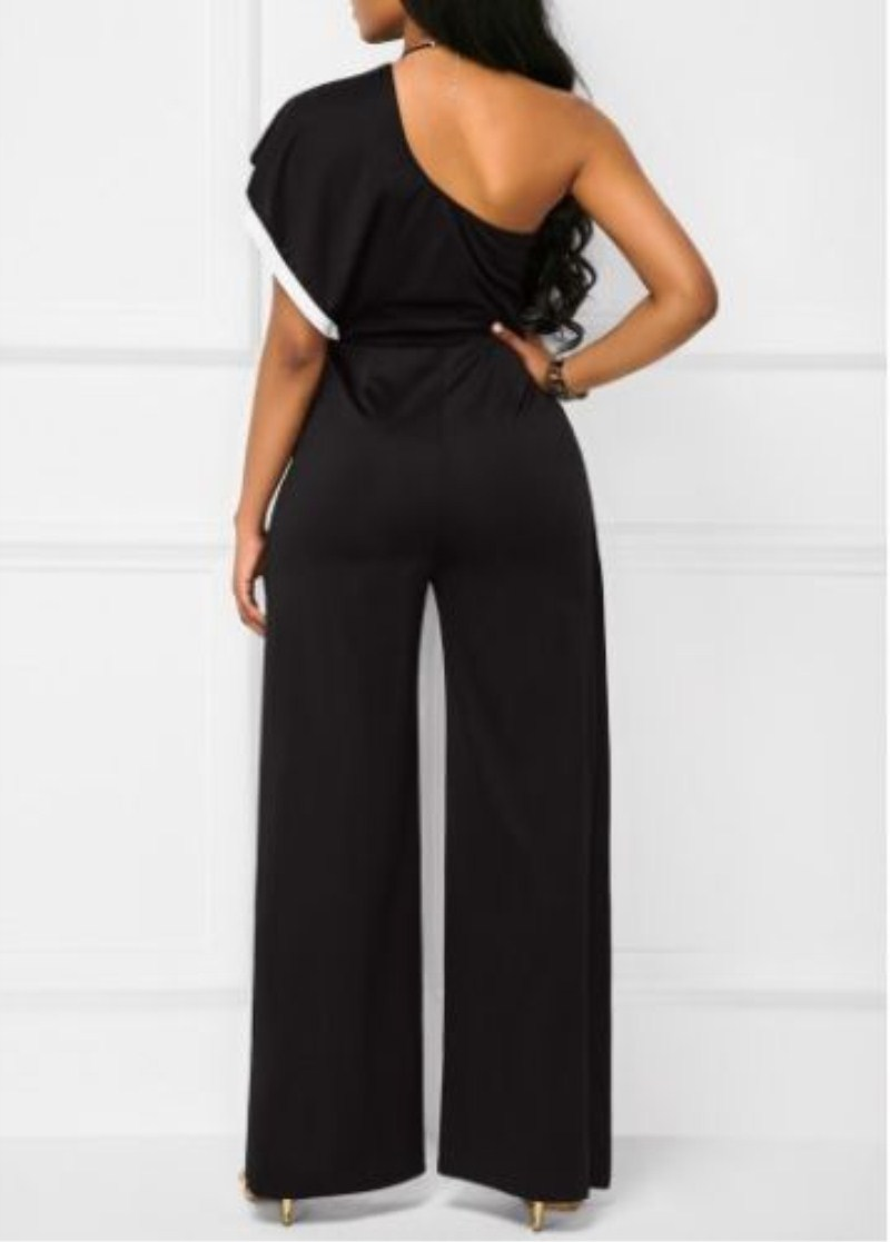 2b23b4bf0ff New Women Clubwear Stylish Off Shoulder Ruffles Playsuit Bodycon Party Wide  Leg Pants Asymmetrical Jumpsuit Romper Trousers