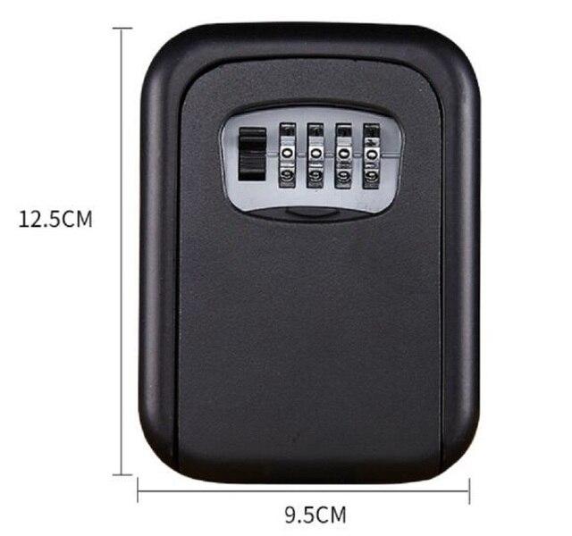 벽 마운트 키 스토리지 주최자 상자 4 자리 조합 잠금 예비 키 주최자 상자 금속 비밀 안전 상자