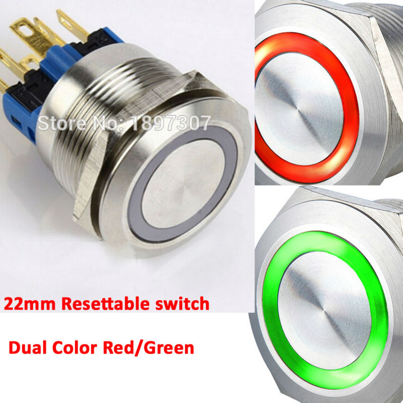 22mm Dual Color 12V Red/Green Red/Blue Ring LED 1NO1NC Reset Momentary Anti-Vandal Electric Car Push Button Switch szgaoy ac250v dc12v red led reset push button switch w terminal silver red
