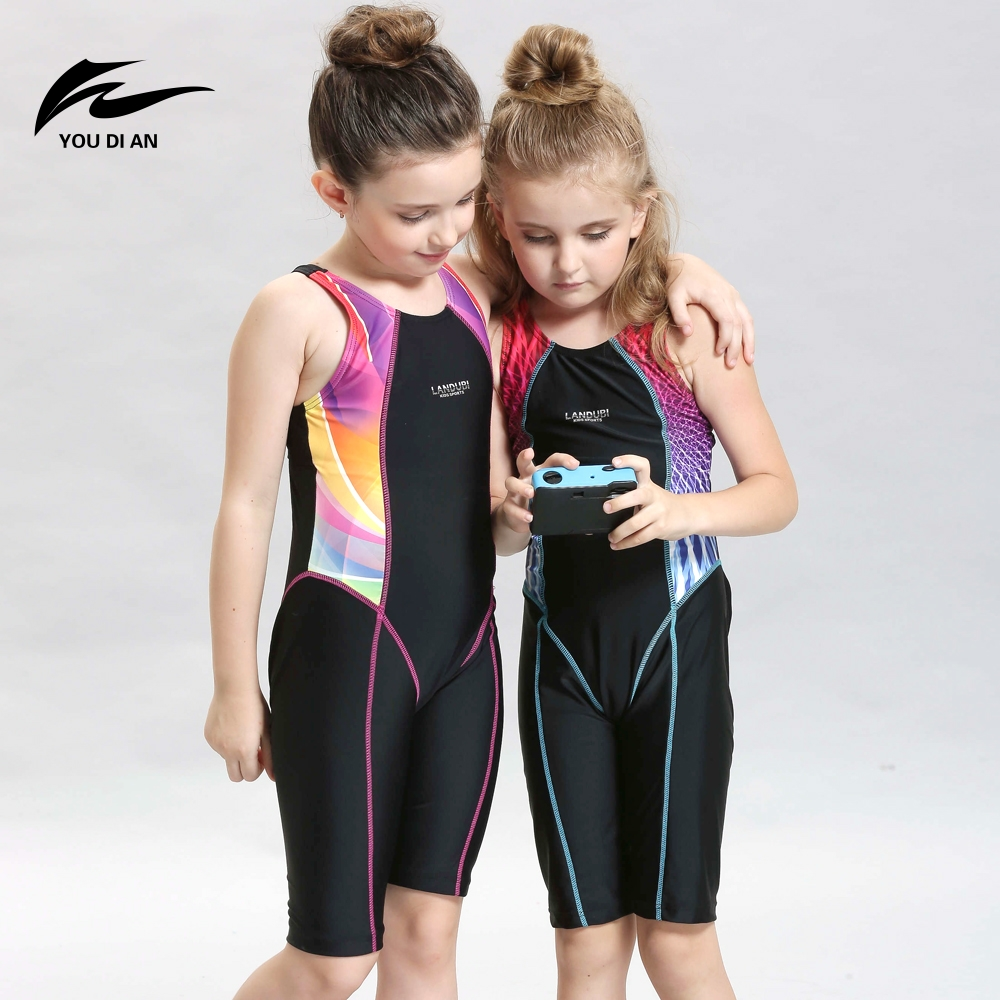 Children Professional Racing Piece Swimsuit Girls learn to swim Swimwear Kids Long Legs Swimsuit for Your Baby Halloween Present quest to learn developing the school for digital kids