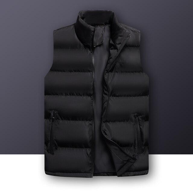 Wordless แขนกุดเสื้อกั๊กเสื้อแจ็คเก็ต Outwear บุรุษผ้าฝ้ายเสื้อกั๊ก Coat Thicken Waistcoat ชายฤดูหนาวเสื้อกั๊กผู้ชาย GILET Homme 6XL
