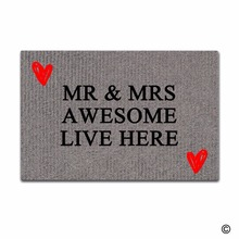 Funny Printed Doormat Entrance Floor Mat Mr & Mrs Awesome Live Here Non-slip 23.6 by 15.7 Inch Machine Washable Non-wove