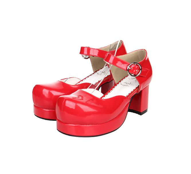 Japón Pl Chica Vestido La Señora Cosplay Zapatos Bowtie blanco Alto Mori Princesa Las Mujeres Red Tacón Lolita Bombas Impresión De Fiesta Angelical Mujer Estilo Bf55q4