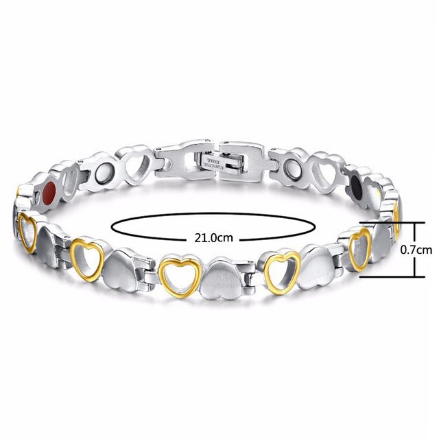 Rainso Fashion Healthy Energy Bracelet Hearted design Stainless Steel Health Care Magnetic Gold Bracelet Hand Chain For Women 2