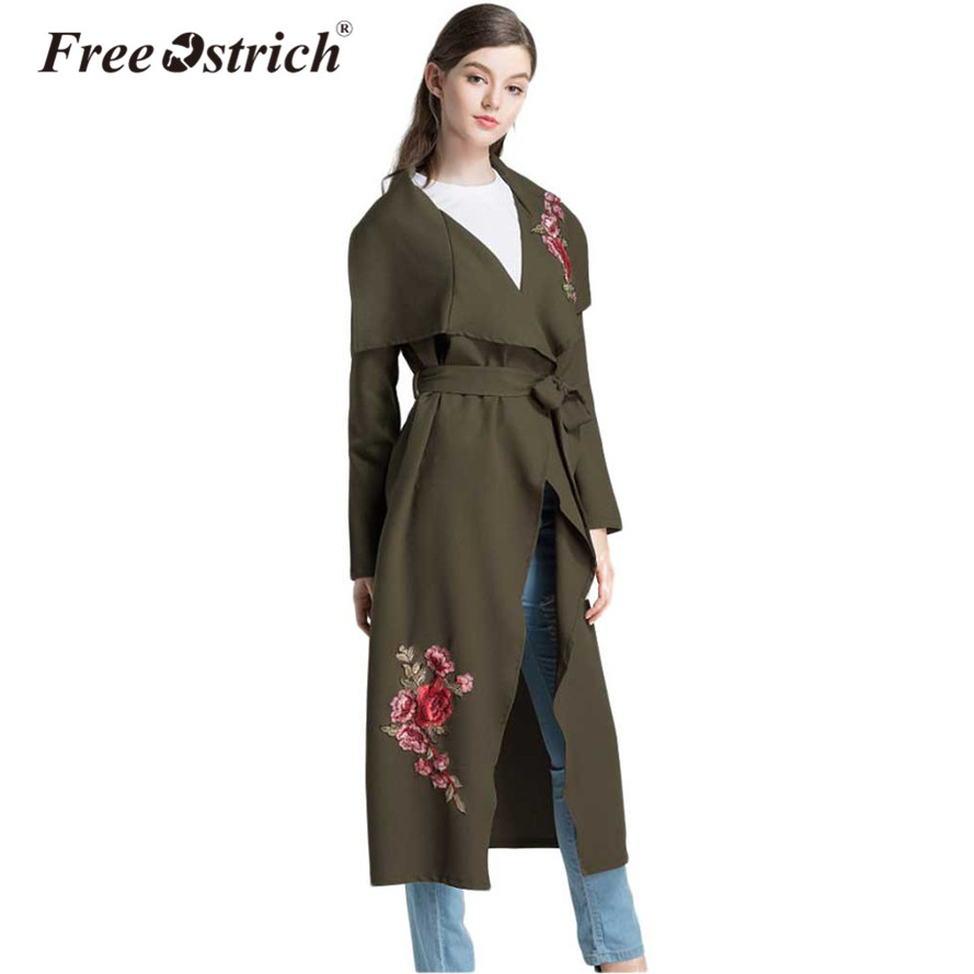 Free Ostrich 2019 Women Autumn Long   Trench   Coat Loose Coat Army Green Pink Embroidery With Belt Deep V Rope Oct2032