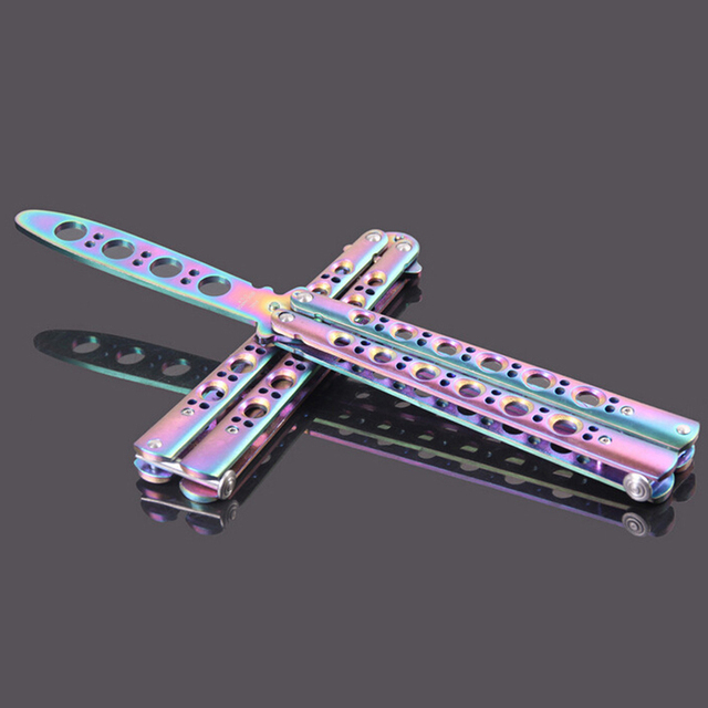 Color Stainless Steel Practice Butterfly In Knife Balisong Trainer Training  Folding Comb Dull Tool Outdoor Camping