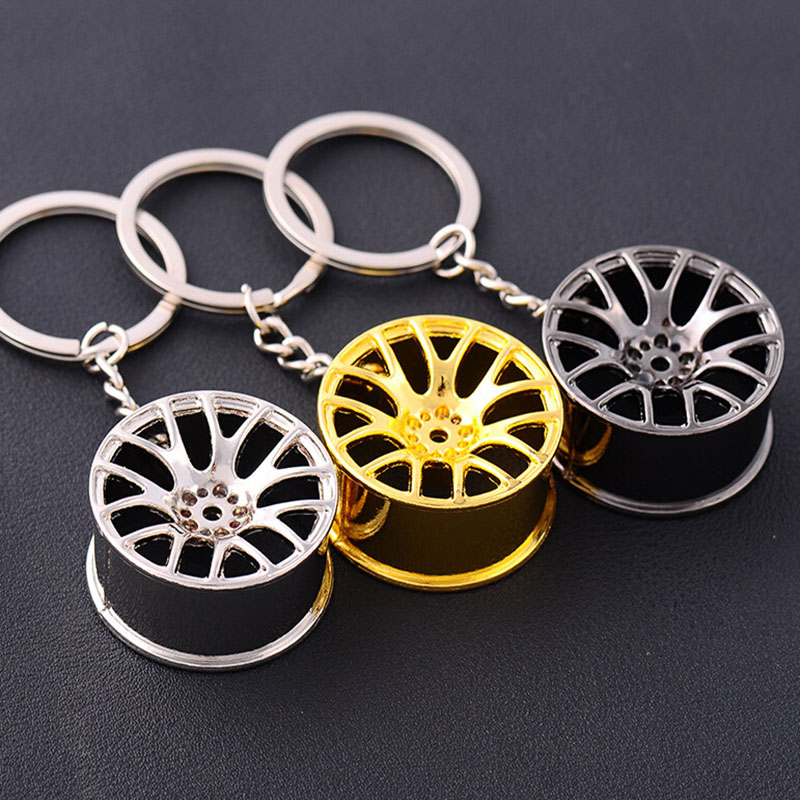 3 Colors Rings Round New Design Cool Luxury metal Keychain Car Key Chain Key Ring creative wheel hub chain For Man Women Gift high grade metal creative car key chain