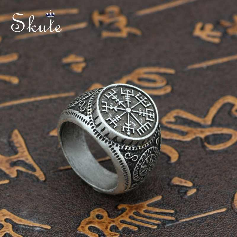 Skute Stainless Steel Gothic Biker Punk Vintage Ring for Men Vegvisir Amulet Nordic Viking Compass Ring Odin Runes Pagan Jewelry