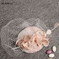Korean Style Linen Tulle Lace Bridal Hats Latest Best-selling Wedding Hats Women Chapeu Casamento SQN008