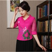 2019 New Chinese Improved Women Shirt Elegant Print Flower Business Clothing Sexy Cotton Linen Half Sleeve Blouse Size M 3XL