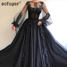 Black Muslim Tulle Long Appliques Scoop Sleeves Dubai Arabic Saudi Arabian Evening Dresses