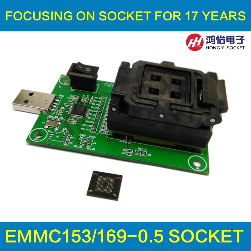 все цены на eMMC153/169 socket with USB nand flash test socket size 12x16 Pin Pitch 0.5mm for BGA169 BGA153 testing Clamshell Structure онлайн