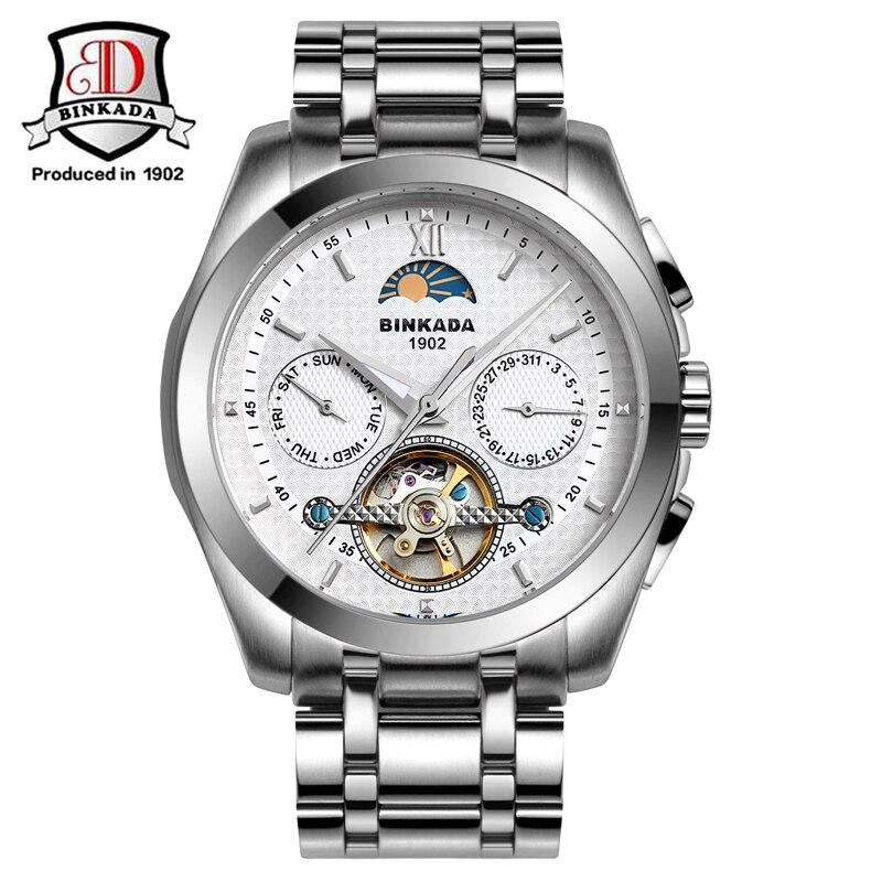 2017 BINKADA Mens Watches Automatic Mechanical Watch Tourbillon Clock Leather Casual Business Wristwatch Relojes Hombre