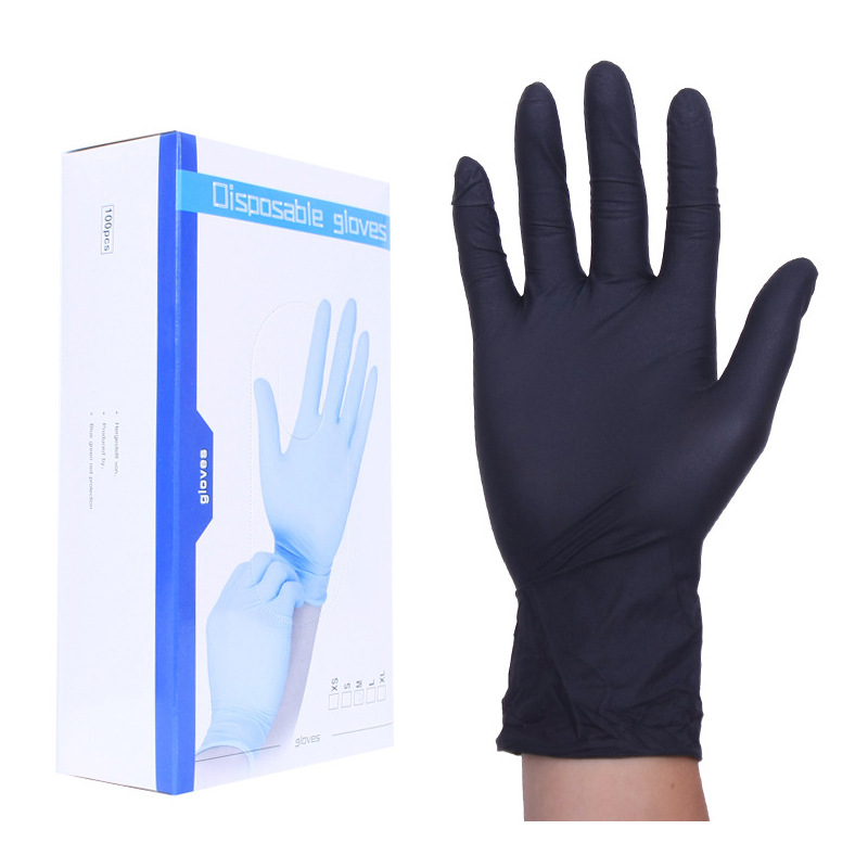 50 Pairs/Pack Nitrile Gloves 24cm Extra Strong Latex Gloves Medical Black Powder Free Nitrile Gloves Electronics, Food,Beauty