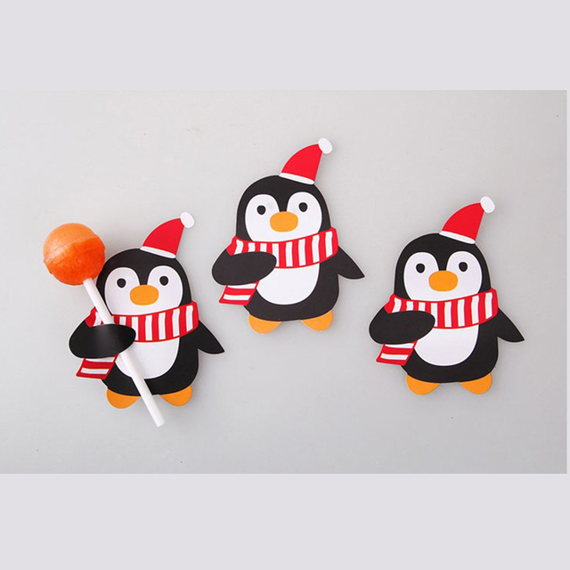 50pcs Hot Sale Penguin Santa Claus Lollipop Paper Card Decoration Birthday Party Candy Decor Christmas Candy Gift For Kids 4