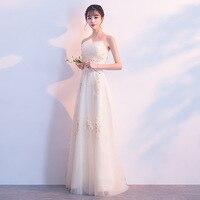 Champagne Chinese Oriental Off Shoulder Wedding Women Sexy Long Cheongsam Evening Dress Elegant Princess Dresses Modern Qipao