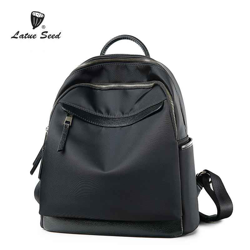 Latue Seed Oxford Cloth Brands Backpack 2018 New Wild Version Trend Large Capacity Shoulders Backpack Solid Black Bag 904-557D-BLatue Seed Oxford Cloth Brands Backpack 2018 New Wild Version Trend Large Capacity Shoulders Backpack Solid Black Bag 904-557D-B