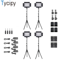 Tycipy 4Pcs Camera LED Video Light Studio Bi color Adjustable Photography Lighting for Canon Youtube Sony with Hot Shoe Stand