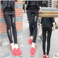 New Sexy Lady Stitching Stretchy Faux Leather Back Leggings Pant women fashion leggigns leather leggings Free Shipping
