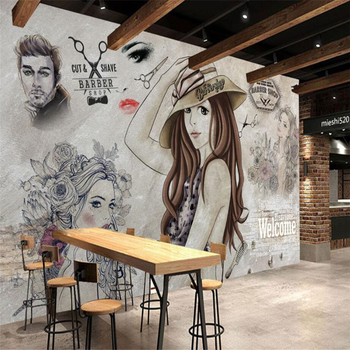 beibehang Custom wallpaper high fashion modern hand painted beauty shop barber background wall mural photo 3d