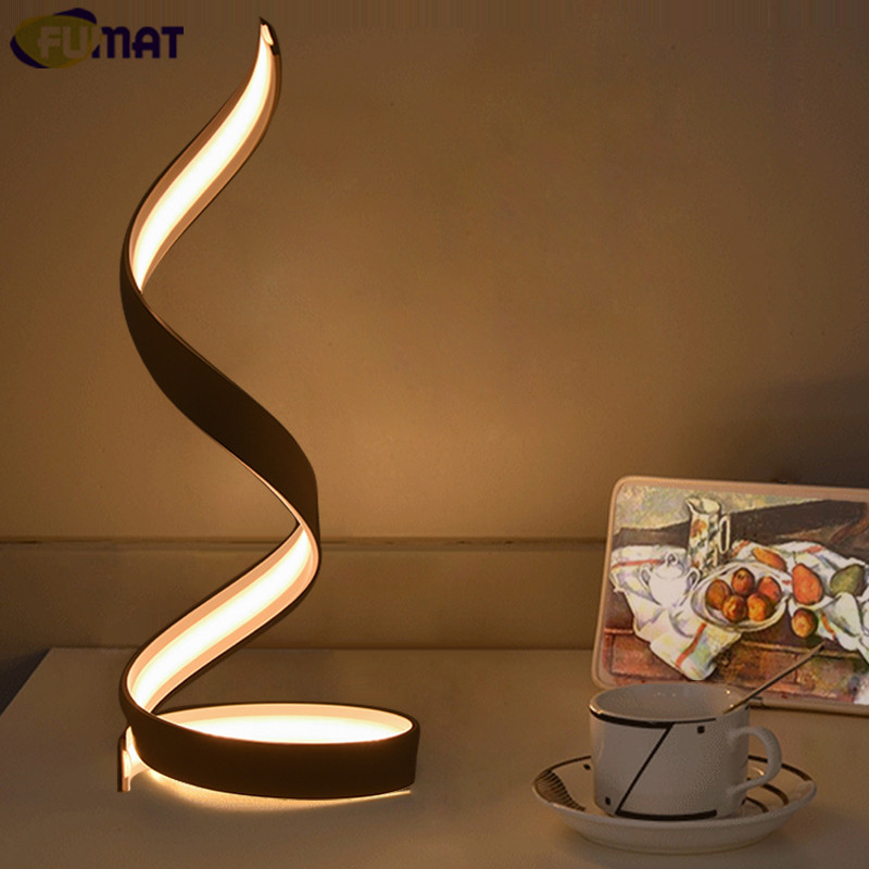 FUMAT Table Lamps Nordic Bedroom Bedside Light Simple Modern White LED Table Lamp Art Decor Light Living Room Study Desk Lamp modern table lamps bird metal art design reading light bedroom bedside lights lampshade home lighting led nordic lamp table