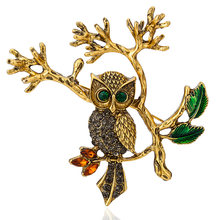 Owl Stand Branch Pattern Collar Brooches For Women Men Cute Gold Silve Color Animal Enamel Needle Pins Suit Clothing Accessory(China)