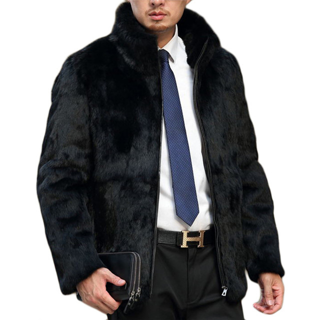 Men Faux Fur Coat Fashion Turn-down Collar Faux Fur Full Pelt Fashion European Style Cool Fur Jacket