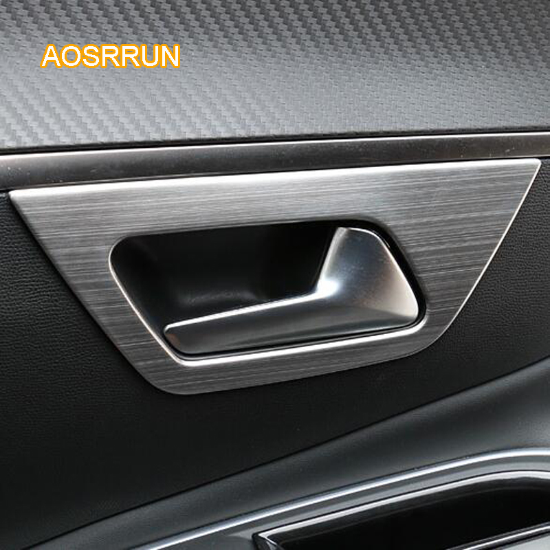 AOSRRUN Stainless steel inner door handle with inner pull frame decoration Covers Car accessories FOR Peugeot 5008 2017 2018