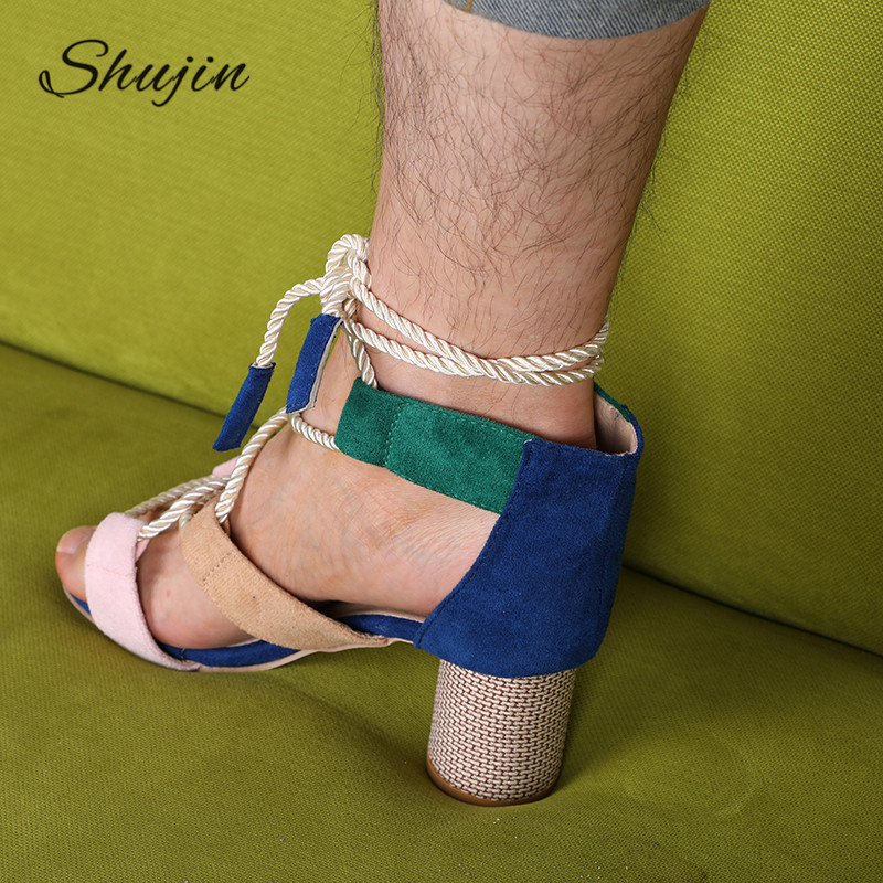 Platform Sandals Heel Wedge-Espadrilles Lace-Up Summer Wedge Hemp Pointed Fish-Mouth