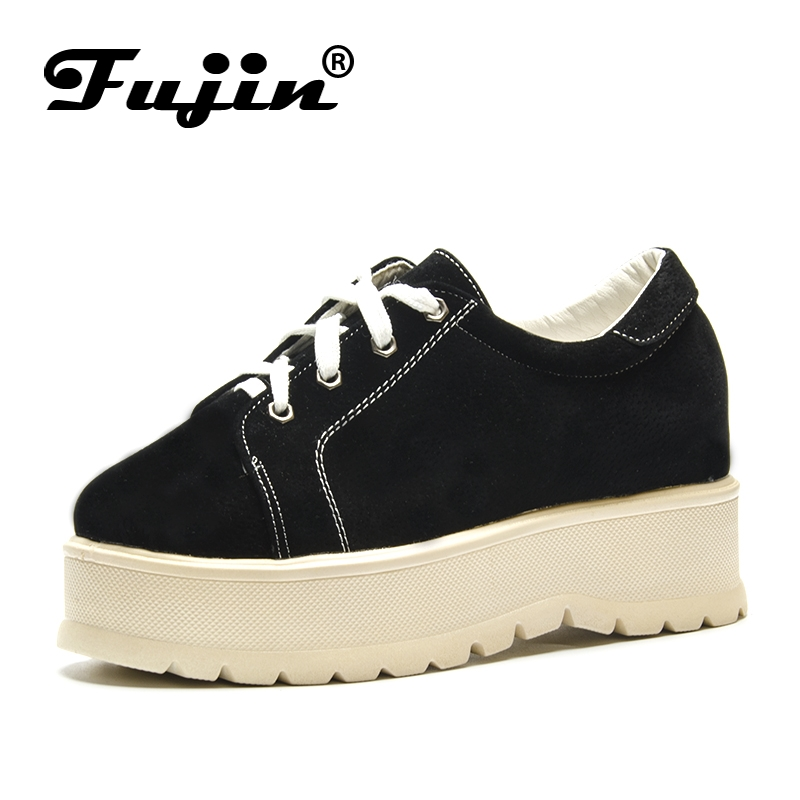 Fujin 2019 Summer Women Flats Shoes Platform Sneakers Shoes   Leather     Suede   Casual Shoes Round Toe Loafers Creepers Moccasins