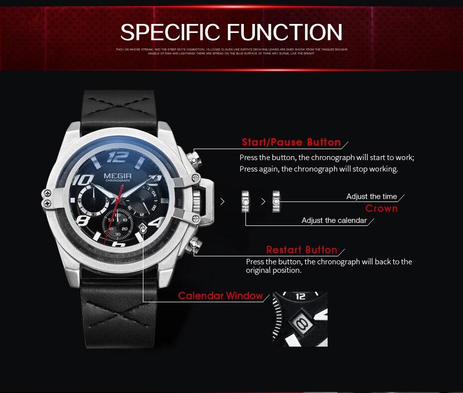 Topdudes.com - MEGIR Men's Creative Waterproof Sports Chronograph Quartz Military Leather Watch