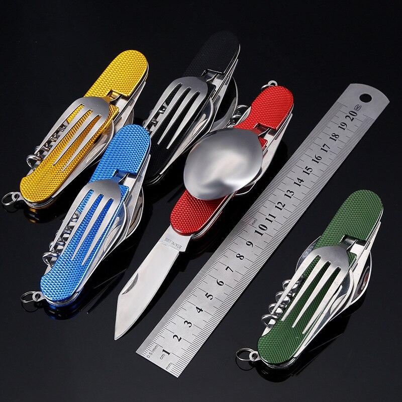 Açık kamp yürüyüş işlevli cep katlanır bıçaklar yemek kombinasyonu bir kaşık çatal paslanmaz çelik çok aracı