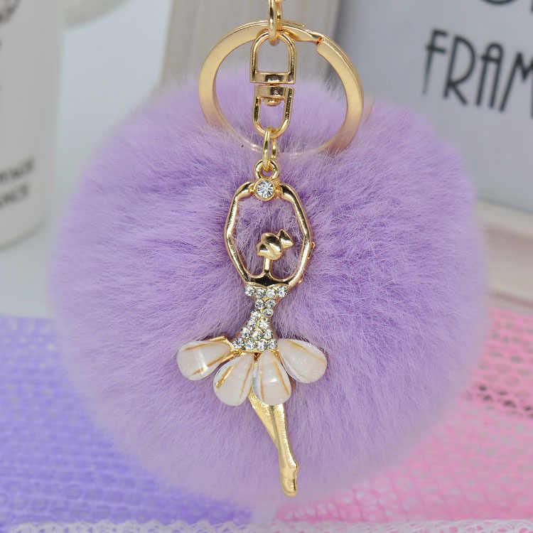 Moda cores Cony Rabbit Fur Cabelo Bola Pom Pom 2 Chaveiro Bolsa Pingente de Chave Anel chave do carro de Presente para as mulheres acessórios titular
