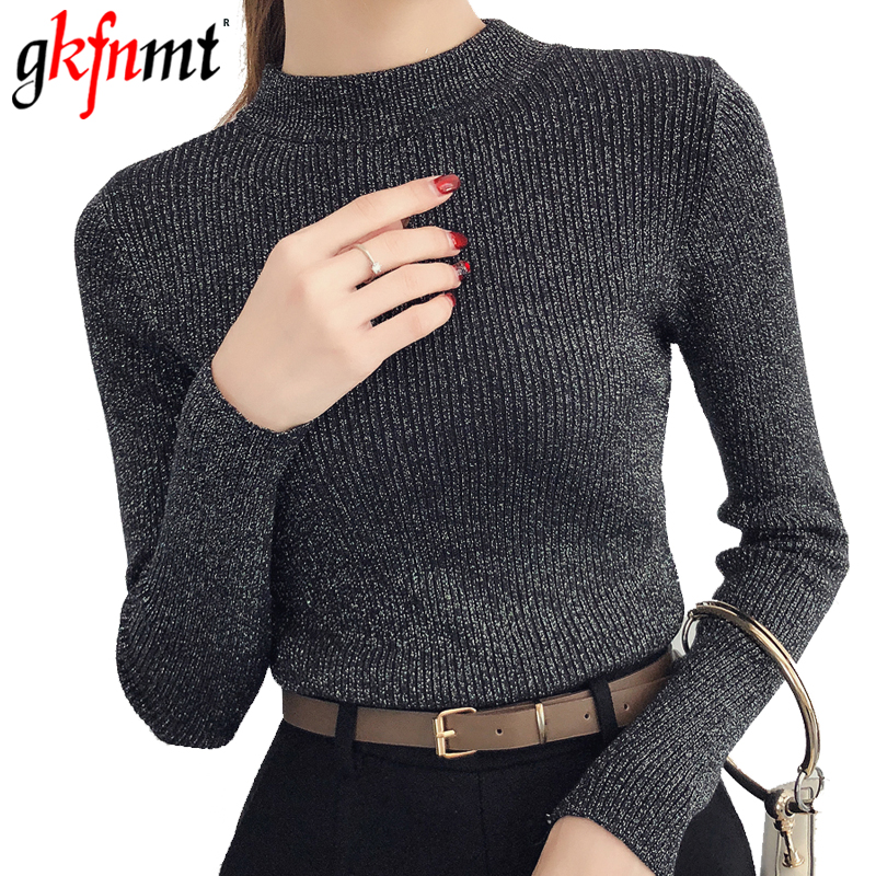 Gkfnmt Shiny Lurex Autumn Winter Sweater Women Long Sleeve Pullover Basic Sweaters Women 2018 Korean Style Knit Pink Tops Femme