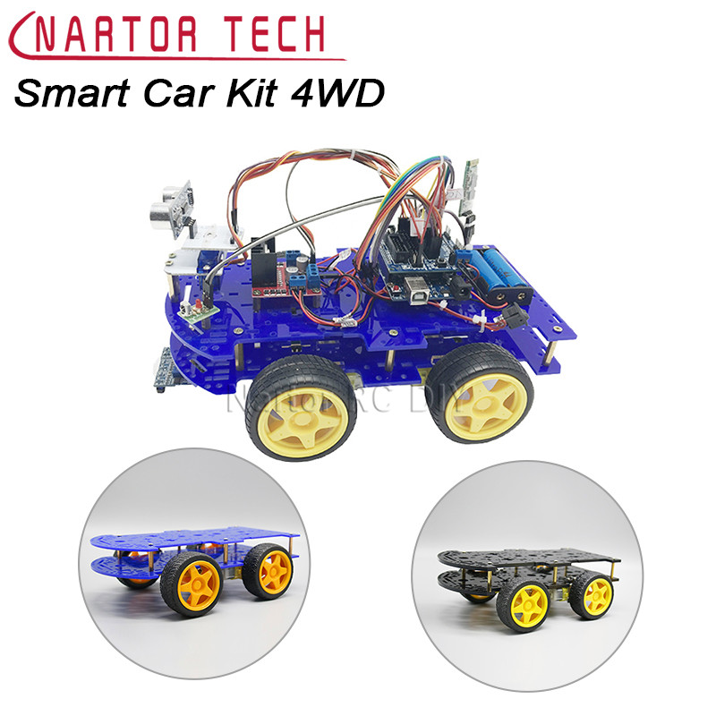 Smart Car Kit 4WD Smart Robot Car Chassis Kits with Speed Encoder for Arduino Diy Kit 4wd 60mm mecanum wheel arduino robot kit 10021