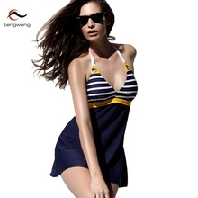 Sexy Deep V Neck Vintage Stripe Bathing Suit Plus Size Padded Halter Skirt Swimwear Women Two Piece Tankini Swimsuit Beachwear