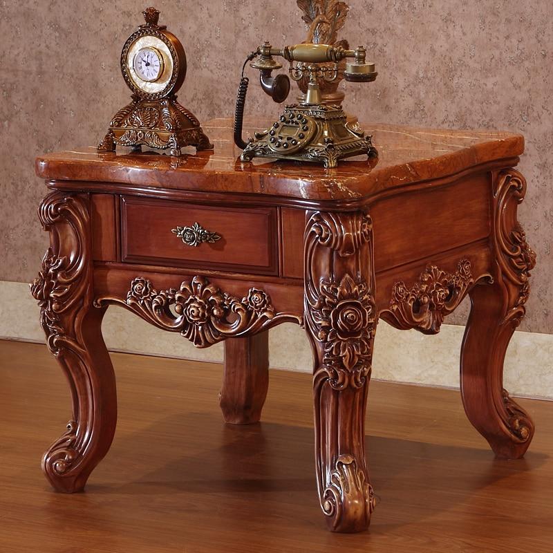 American Marble Tea Table, Solid Wood Storage Side, European Style Corner Table