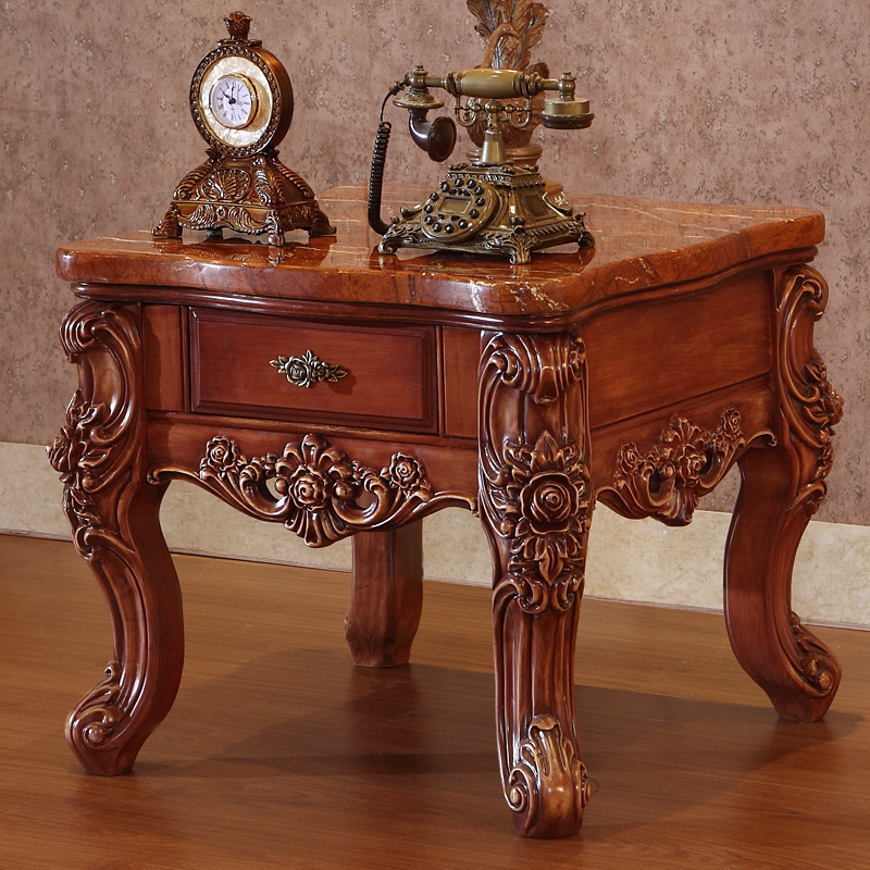 Nice American Marble Tea Table, Solid Wood Storage Side, European Style Corner  Table