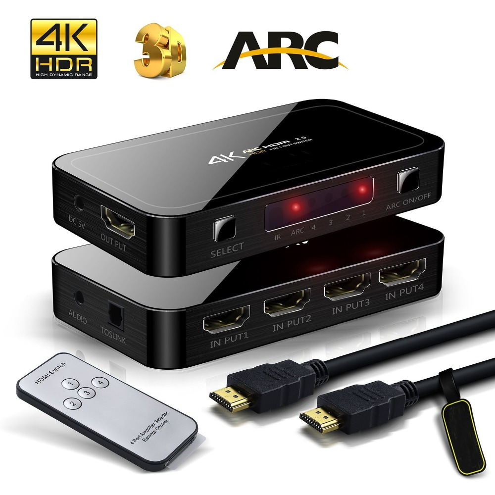 Mini 4K 4 Input 1 Output HDMI 2.0 Switch Box 4x1 HDR HDMI Switcher Audio Extractor With ARC & IR Control For PS4 Apple TV HDTV