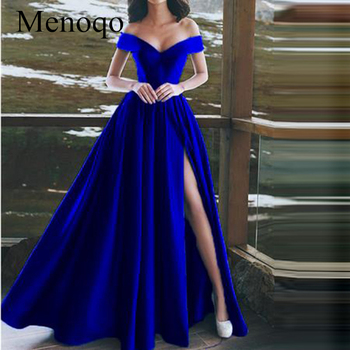 Luxury Satin A-line Evening Dress with High Side Split 2019 Arabic Women Deep V Neck Royal blue Evening Dresses Gowns