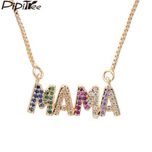 Pipitree Elegant Mother's Day Gift MaMa Letter Name Pendant Necklaces Jewelry Copper Cubic Zirconia Chain Necklace for Women(China)