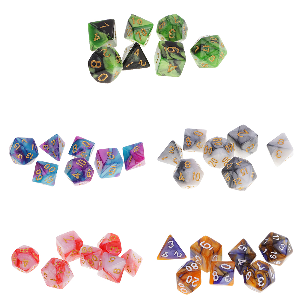 Newest 35 Pieces Polyhedral Dice D4-D20 for Dungeons and Dragons RPG Board Game Party Casino Supplies Funny Family Pub Game Gift acrylic polyhedral dice for board game translucent light blue 5 pcs