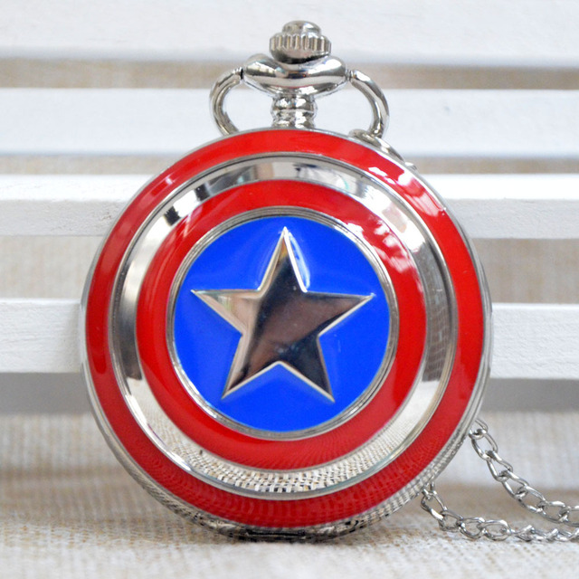 Fast Shipping Silver Alloy Shell CAPTAIN AMERICA Quartz Pocket Watch Men Women N