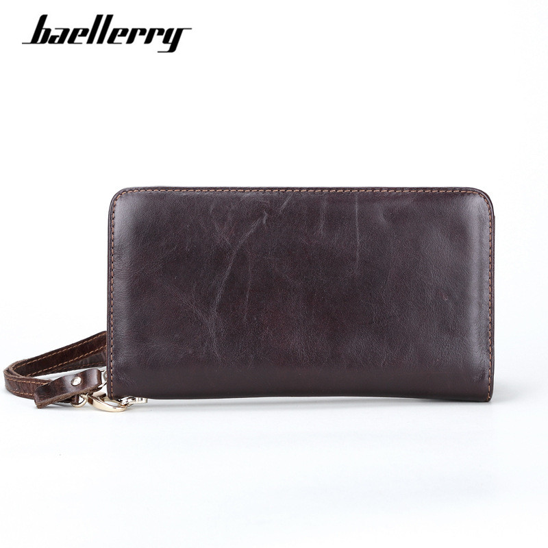 Long Men Wallets with Wristlet Genuine Cow Leather Wallet 2017 Business Card Holder Zipper Male Clutch Purse Wallets carteira simline vintage genuine cow leather cowhide mens men long double zipper wallet purse wallets card holder clutch bag bags for man