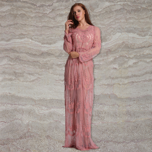 c7bbaf033a Spicylace Sexy V-Neck Loose Beach Long Dress Summer Style 2018 Women Pink  Lace Beach