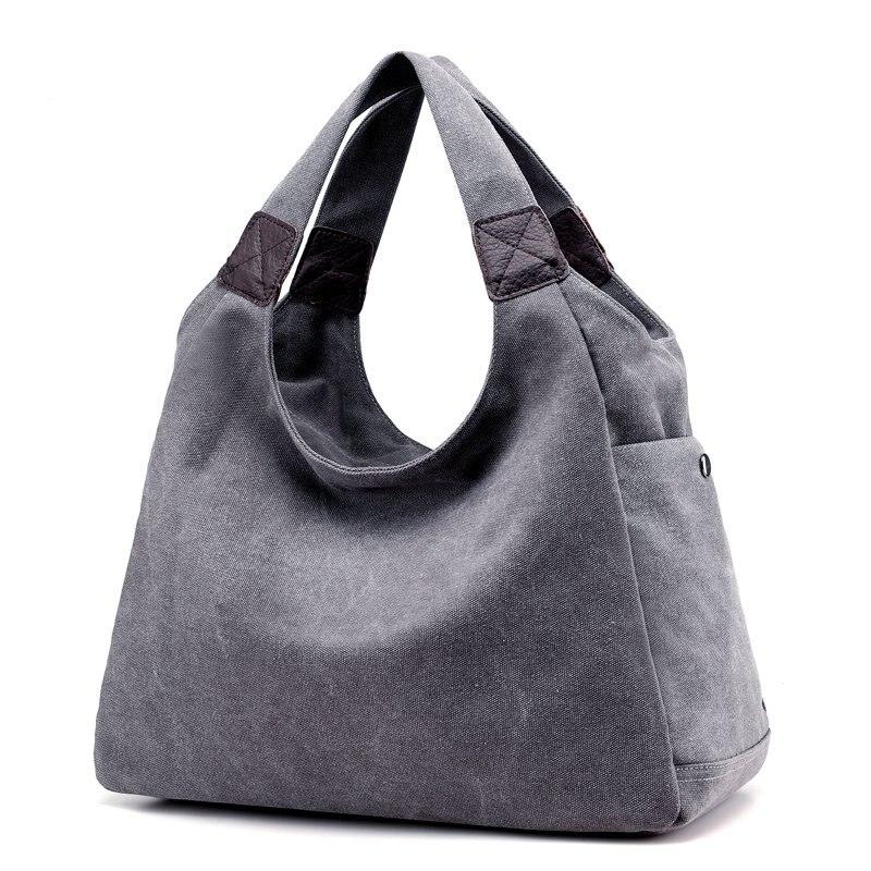 Canvas Handbags Design Ladies Tote Bag Female Solid Big Shoulder Bags Travel Bag Bolsos Mujer