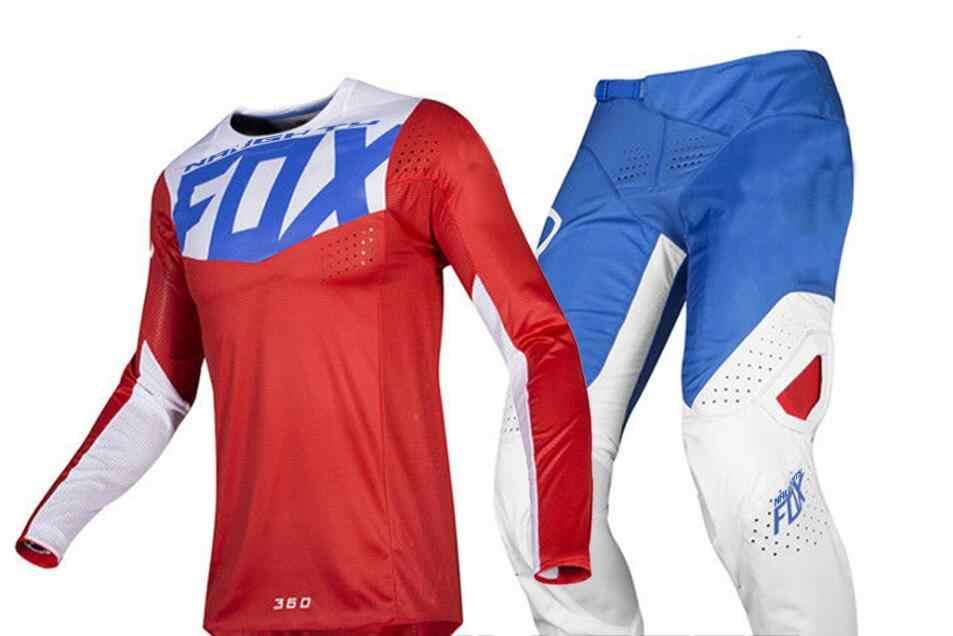 2019 Nakal Fox MX 360 Kila Hitam Jersey Celana Motocross Sepeda Motor Dirt Bike ATV MTB DH Balap Pria Gigi set