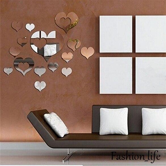 comprar unids hearts espejo adhesivo dormitorio decoracin diy espejo plstico de espejos decorativos home room mural d pegatinas de